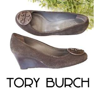 TORY BURCH Sally suede gray wedge heels 6